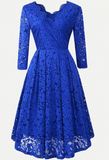 Lace 3/4 Sleeve Royal Blue Homecoming Dress, Short Homecoming Dresses  cg5789