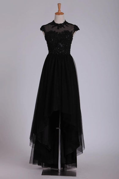 Black Prom Dresses Scoop Tulle With Beads  cg5796