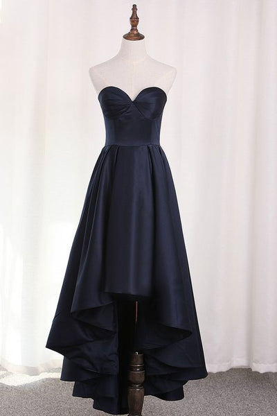 A Line Satin Asymmetrical Sweetheart Evening prom dress   cg5797