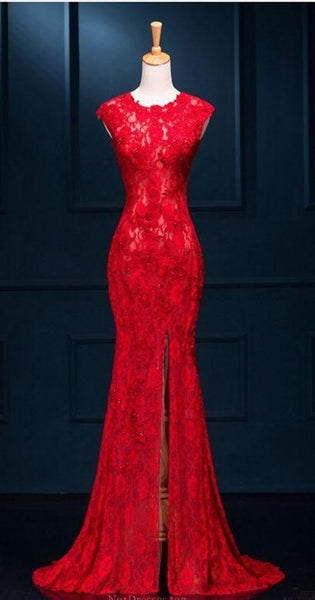 Red Lace Mermaid Prom Dresses  cg5799