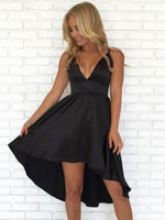 A-Line Spaghetti Straps Deep V-Neck Backless Black Homecoming Dresses cg579