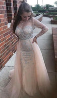Sexy Mermaid Prom Dresses Luxurious Stones Crystals Sheer Tulle Long Sleeves Evening Dress Illusion Bodice Party Gowns With Skirt   cg5807