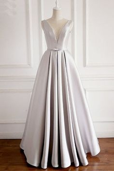 Unique Gray Satin Beaded Long A Line Custom Made Prom Dress With Bow  cg5817