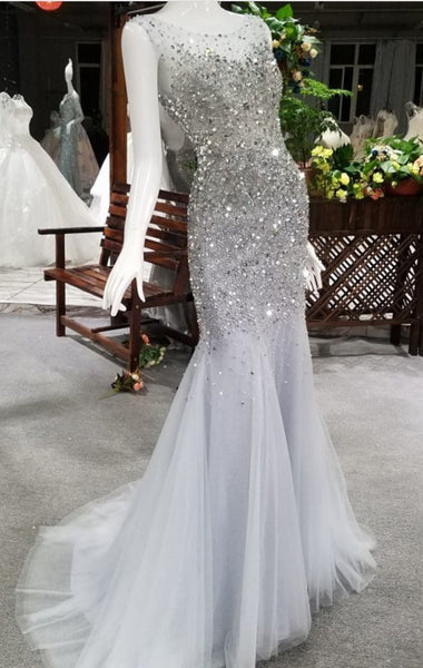 New Advanced Dress Mermaid Pajama Party Luxury Banquet Sexy Beading Crystal Fishtail Backless prom dress cg5818