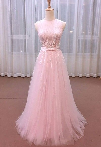 Pink Tulle Sequins Long Sweet Prom Dress  cg5819