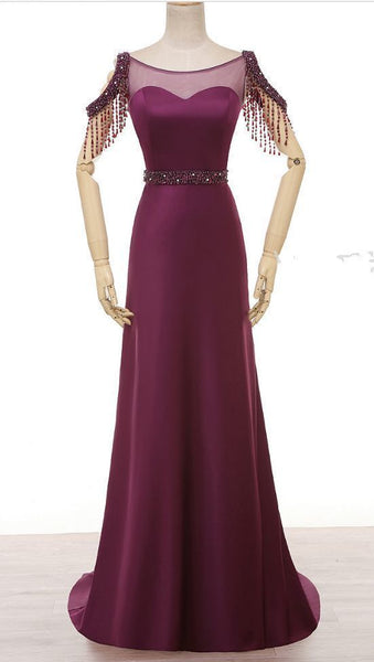 Purple dress ,pearl crystal neck ,satin evening gown,mermaid,Floor Length Formal prom Dress  cg5822