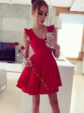 Simple A-Line V-Neck Sleeveless Red Homecoming Dresses With Ruffles cg582