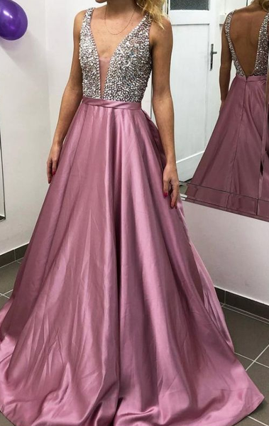 Backless Sexy Long Prom Dress With Beading Custom-made School Dance Dress Fashion Wedding Party Dress  cg5831