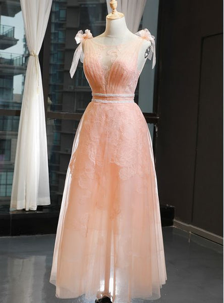 A-Line Orange Tulle Appliques Bateau Pleats Prom Dress With Beading  cg5837