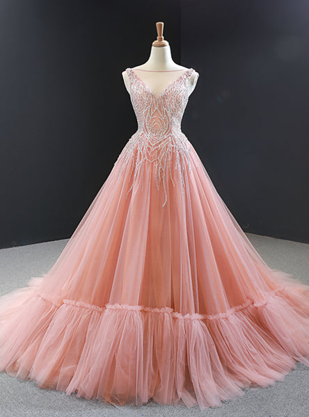 Pink Ball Gown Tulle Beaidng Backless Long Prom Dress  cg5842