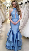 Mermaid High Neck Long Blue Prom Dress with Appliques Ruffles  cg5843