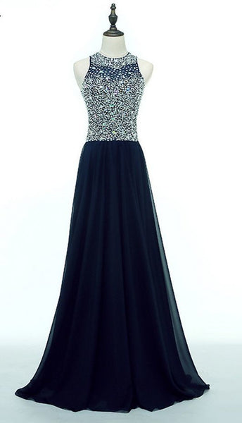 Chiffon O-neck Long Evening Dress Party Elegant Navy Blue Beads Vintage Prom Dress  cg5846