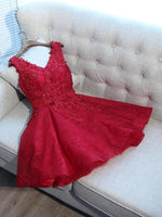 A-Line V-Neck Red Tulle Sleeveless Homecoming Dresses With Appliques cg584