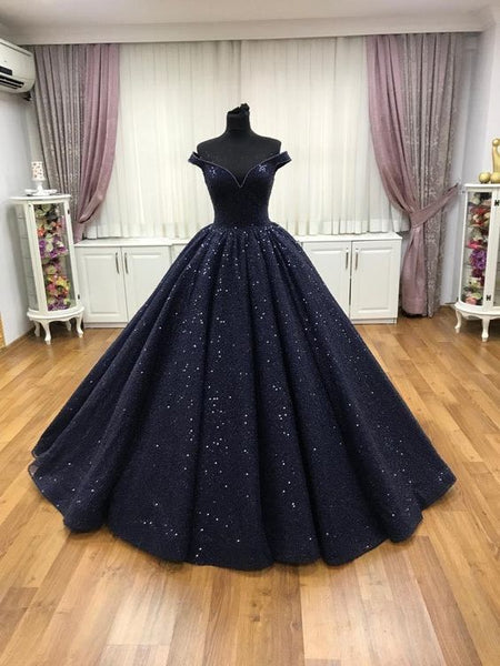 Navy blue ball gown prom dress  cg5864