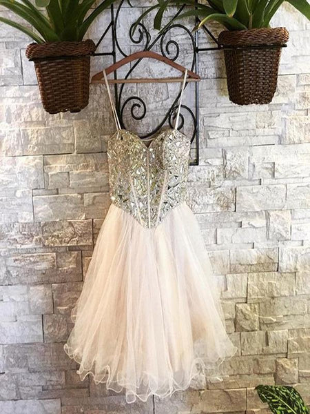Sexy Sweetheart Homecoming Dresses With Beading,Spaghetti Straps Homecoming Dresses  cg586