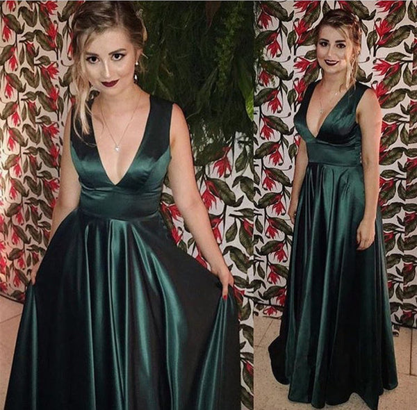 Dark green prom dress,v neck prom dress,long evening gown,satin prom dress  cg5889
