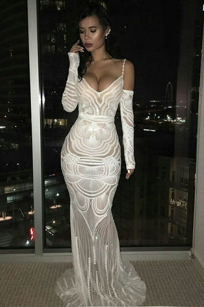 White Prom Dresses with Sleeves Spaghetti Straps Mermaid Evening Gowns  cg5895