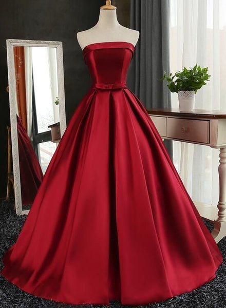 Dark Red Prom Dresses, Gorgeous Formal Gowns, Satin Long Party Dress  cg5901