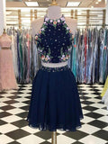 Sexy Two Pieces Navy Blue Short Homecoming Dresses With Halter Neckline,Affordable Homecoming Dresses cg590