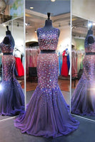 Sparkly Mermaid Scoop Neck Two Piece Purple Tulle Beaded Prom Dress  cg5913
