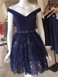 2019 A-Line Dark Navy Off Shoulder Lace Short Homecoming Dresses  cg591