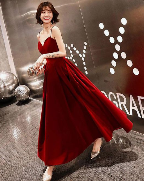 Burgundy sweetheart tea length prom dress, burgundy bridesmaid dress  cg5920