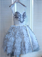 Stylish Sky Blue Short Homecoming Dresses With Spaghetti Straps, A-Line Juniors Dresses With Appliques  cg592