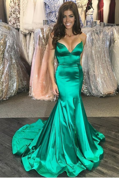 Plunging Sweetheart Green Prom Dress Mermaid Train  cg5930