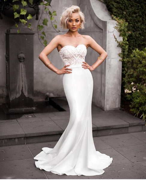 Customized sweetheart prom dress ,white Prom dress cg5931