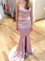 Elegant Prom Dress, Fashion Mermaid Sleeveless Sweetheart Sweep Satin dress cg5932