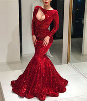 Long Sleeves Red Sequin Mermaid Prom Dress, shining evening dress  cg5947