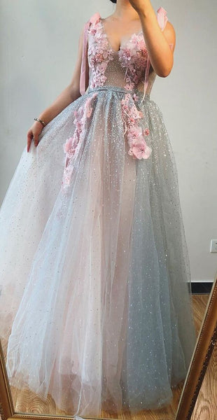 A-line V neck Beaded Pink Long Prom Dresses With Floral Beautiful Evening Gowns  cg5949