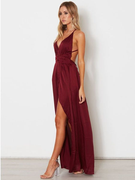 A-line Spaghetti Straps Prom Dresses Custom Burgundy Long Prom Dresses Evening Dress cg5953
