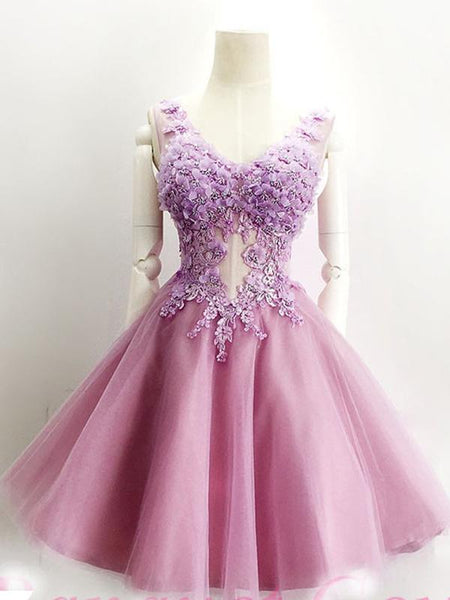 Elegant A-Line Lavender Tulle Homecoming Dresses With Scoop Neckline,Short Homecoming Dresses With Appliques cg595
