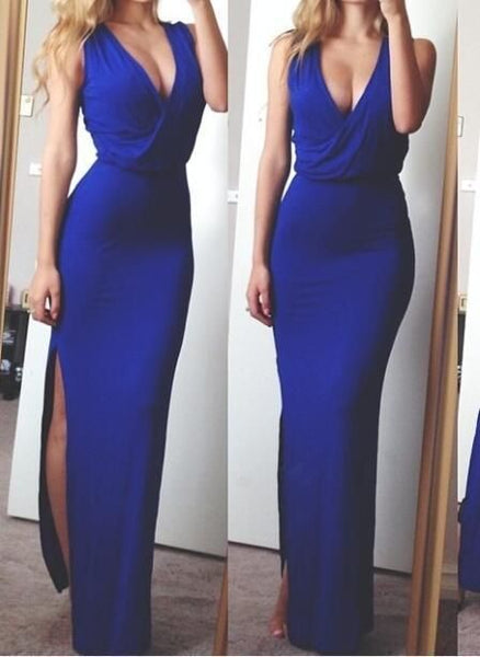 Royal Blue Trumpet/Mermaid Halter Side Slit 2020 Prom Dresses  cg5960