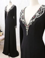 Long Sleeves Deep V Neck Jersey Formal Evening prom Dress Black Pageant Gown  cg5967