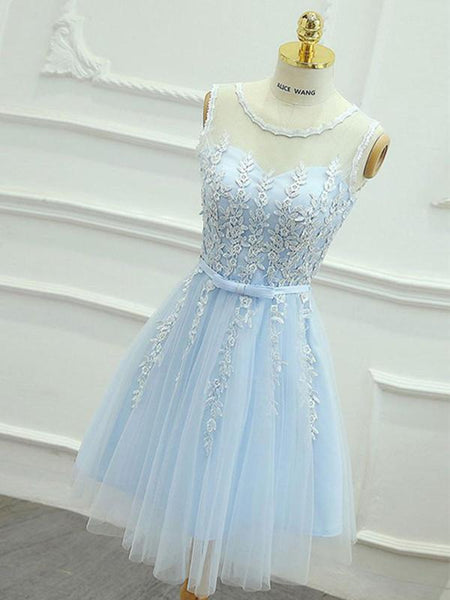 Elegant A-Line Light Blue Tulle Homecoming Dresses With Scoop Neckline,  cg596