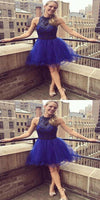 Royal Blue Short Beading Homecoming Dresses With Halter Neckline,Affordable Homecoming Dresses  cg597