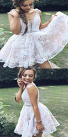 2019 A-Line White Short Homecoming Dresses With Straps,Custom Made Homecoming Dresses  cg598