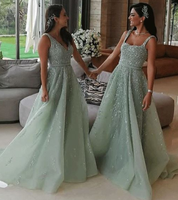 Modern Tulle Appliques & Beading A Line Bridesmaid prom Dresses  cg5995