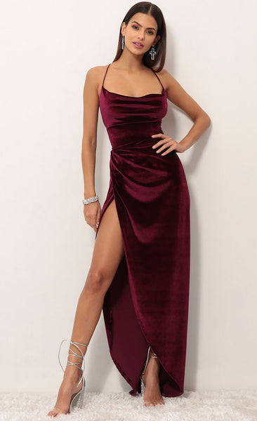 Simple Burgundy velvet Long Prom Dress  cg5997