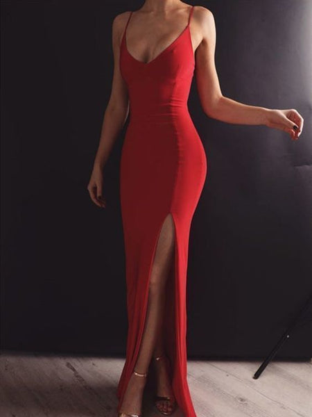 Red Mermaid Prom Dress with Leg Slit, Red Mermaid Formal Dresses Prom Dress Evening Dress with Open Back  cg6018