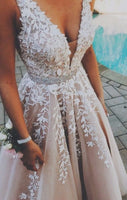A-Line V-Neck Champagne Tulle Prom Dress with Beading Appliques  cg601