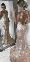 Open Back Sequin Sparkly Mermaid Fashion Sexy Elegant Prom Dresses  cg6022
