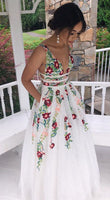 Princess V Neck Floral Embroidery Long White Prom Dress  cg6023