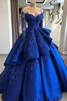 Unique blue lace long prom dress, blue long evening dress cg602