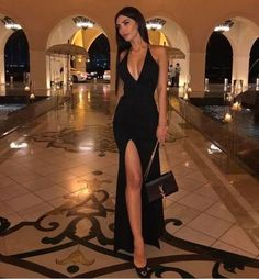 Sexy Black Prom Dress, Halter Evening Dress,Split Long Prom Dresses Evening Dress  cg9047