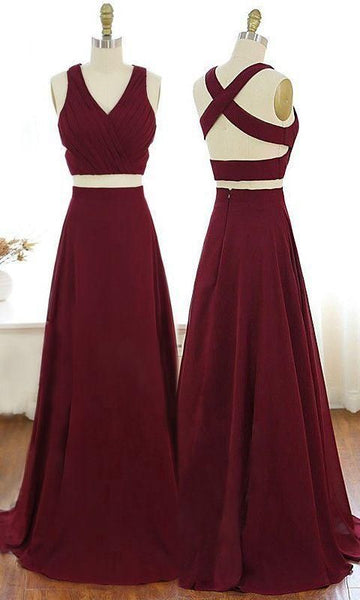 V-Neck Burgundy Party Dress Criss-Cross Straps Chiffon Two Piece Prom Dress  cg6059