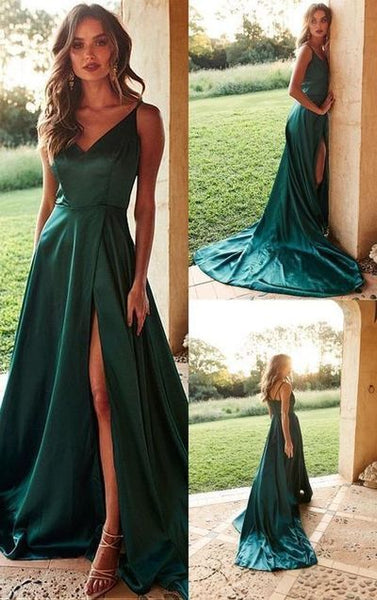 A-Line V-Neck Satin Long Prom Dress with Split Dark Green Evening Dress  cg605