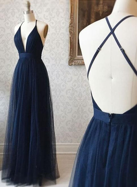 A Line V Neck Navy Blue Backless Prom Dresses, Dark Navy Blue Backless Tulle Evening Formal Dresses  cg606